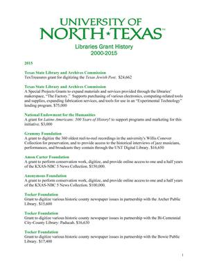 Primary view of object titled 'University of North Texas Libraries Grant History: 2000-2015'.