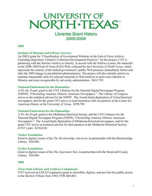 Primary view of object titled 'University of North Texas Libraries Grant History: 2000-2009'.