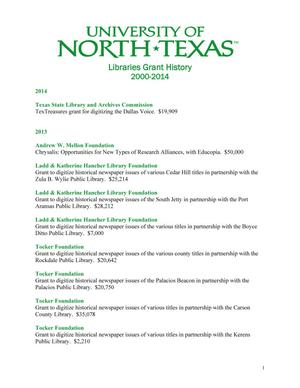 Primary view of object titled 'University of North Texas Libraries Grant History: 2000-2014'.