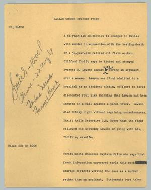 Primary view of object titled '[News Script: Dallas murder charges filed]'.