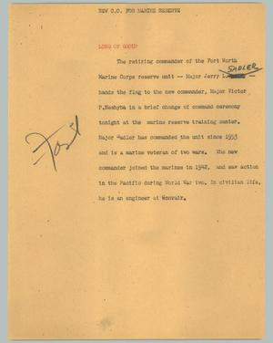 Primary view of object titled '[News Script: New C.O. for Marine reserve]'.