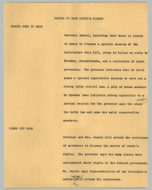 Primary view of object titled '[News Script: Daniel to talk state's rights]'.