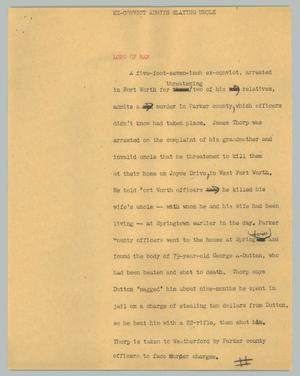 Primary view of object titled '[News Script: Ex-convict admits slaying uncle]'.
