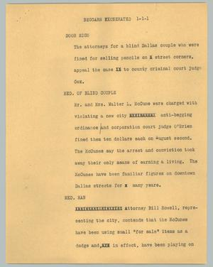Primary view of object titled '[News Script: Beggars exonerated]'.