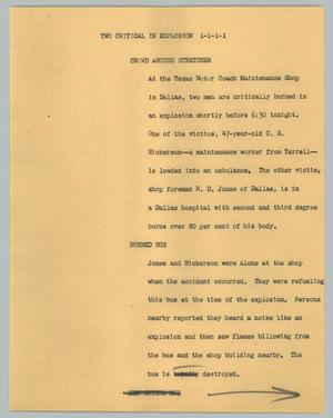 Primary view of object titled '[News Script: Two critical in explosion]'.
