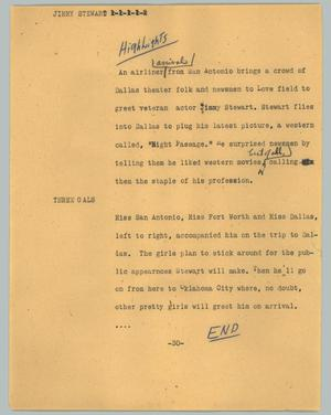 Primary view of object titled '[News Script: Jimmy Stewart]'.