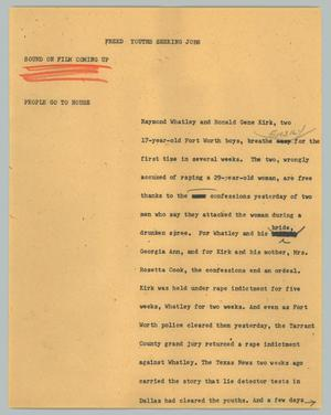 Primary view of object titled '[News Script: Freed youths seeking jobs]'.