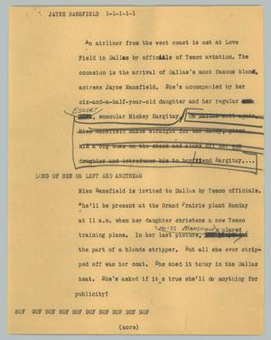 Primary view of object titled '[News Script: Jayne Mansfield]'.