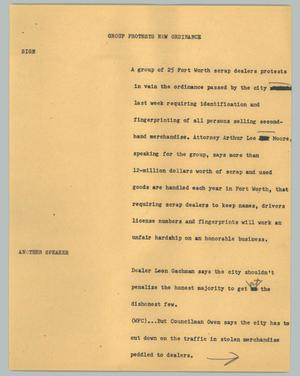 Primary view of object titled '[News Script: Group protests new ordinance]'.