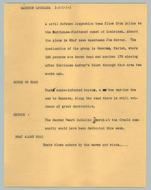 Primary view of object titled '[News Script: Cameron Louisiana]'.