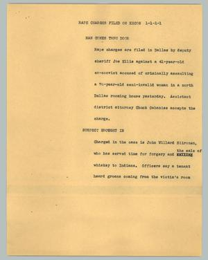 Primary view of object titled '[News Script: Rape charges filed on ex-con]'.