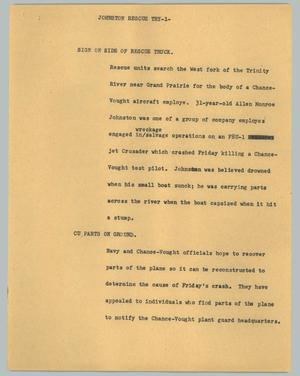 Primary view of object titled '[News Script: Johnston rescue try]'.