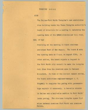 Primary view of object titled '[News Script: Turnpike]'.