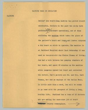 Primary view of object titled '[News Script: Machine used in operation]'.