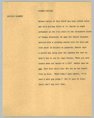 Primary view of object titled '[News Script: Robber strikes]'.