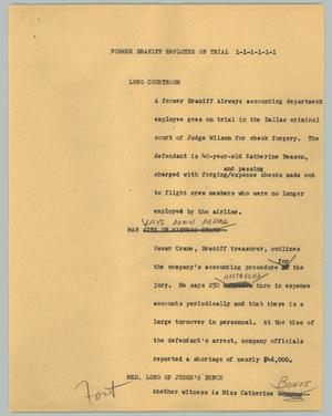 Primary view of object titled '[News Script: Former Braniff employee on trial]'.