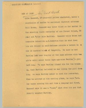 Primary view of object titled '[News Script: Shooting confession]'.