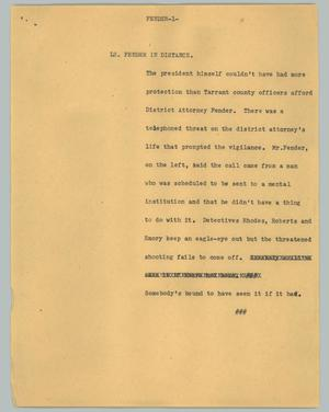 Primary view of object titled '[News Script: Fender]'.