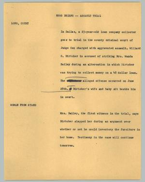 Primary view of object titled '[News Script: Assault trial]'.
