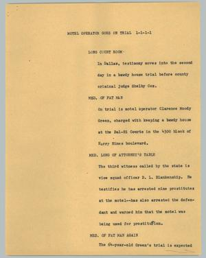 Primary view of object titled '[News Script: Motel operator goes on trial]'.