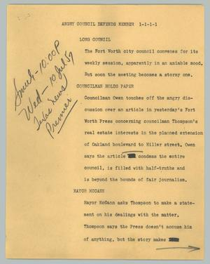 Primary view of object titled '[News Script: Angry council defends member]'.