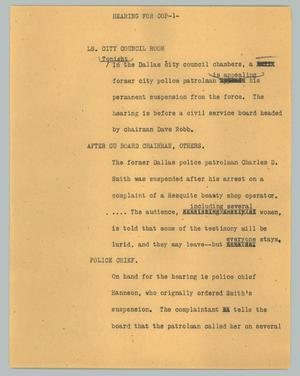 Primary view of object titled '[News Script: Hearing for cop]'.