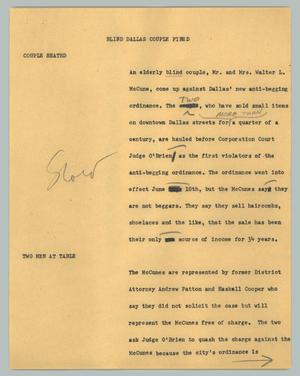 Primary view of object titled '[News Script: Blind Dallas couple fined]'.