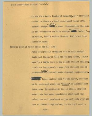 Primary view of object titled '[News Script: Bond improvement meeting]'.