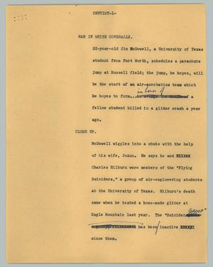 Primary view of object titled '[News Script: Chutist]'.