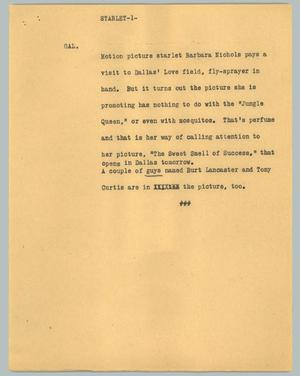 Primary view of object titled '[News Script: Starlet]'.