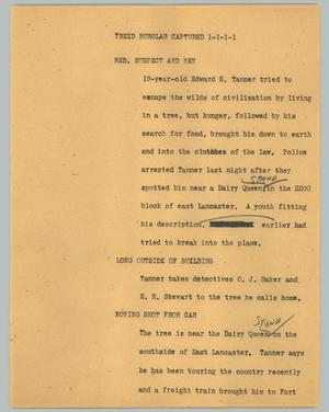 Primary view of object titled '[News Script: Treed burglar captured]'.