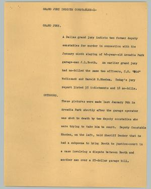 Primary view of object titled '[News Script: Grand jury indicts constables]'.
