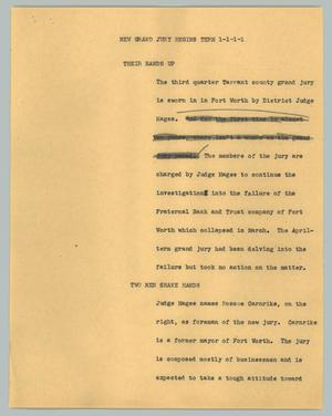 Primary view of object titled '[News Script: New Grand Jury begins term]'.