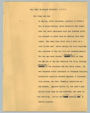 Primary view of object titled '[News Script: Man held in Dallas shooting]'.