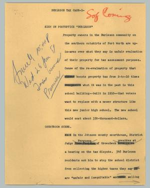 Primary view of object titled '[News Script: Burleson tax case]'.