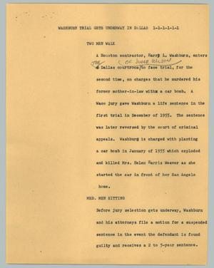 Primary view of object titled '[News Script: Washburn trial gets underway in Dallas]'.