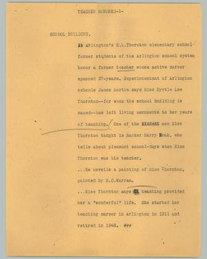Primary view of object titled '[News Script: Teacher honored]'.