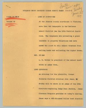 Primary view of object titled '[News Script: Burleson group protests higher school taxes]'.