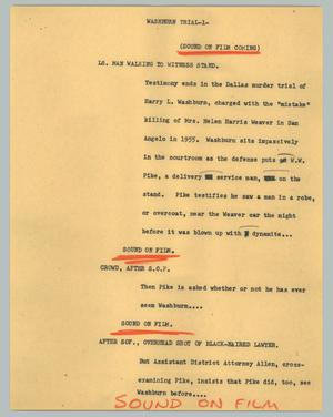 Primary view of object titled '[News Script: Washburn trial]'.