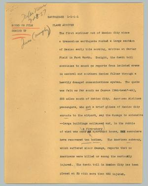 Primary view of object titled '[News Script: Earthquake]'.