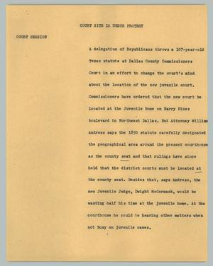 Primary view of object titled '[News Script: Court site is under protest]'.