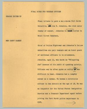 Primary view of object titled '[News Script: Final rites for veteran officer]'.
