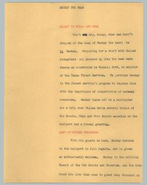 Primary view of object titled '[News Script: Smokey the Bear]'.