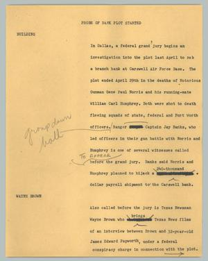 Primary view of object titled '[News Script: Probe of bank plot started]'.