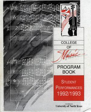 Primary view of object titled 'College of Music program book 1992-1993 Student Performances Vol. 2'.