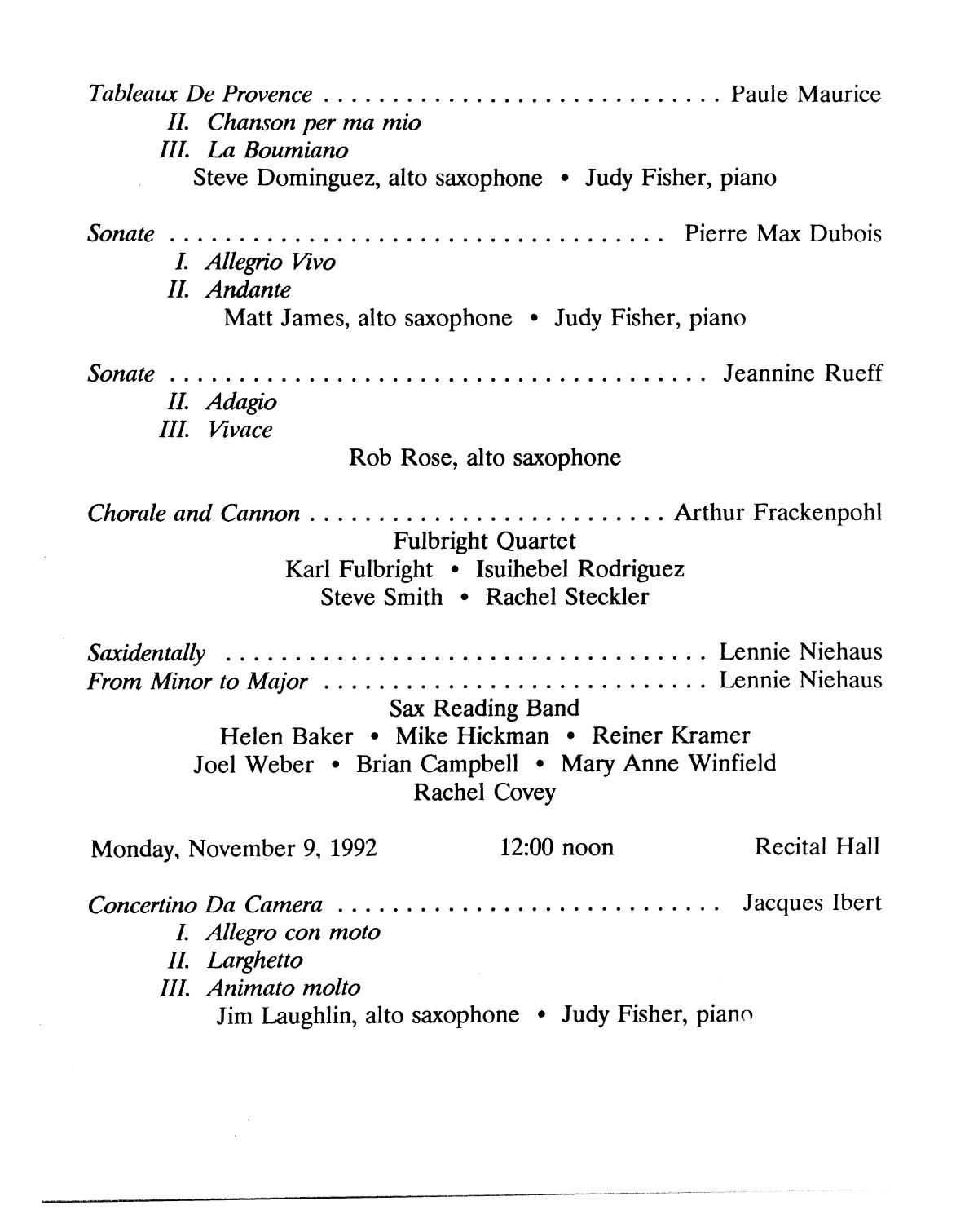 College Of Music Program Book 1992 1993 Student Performances Vol 2