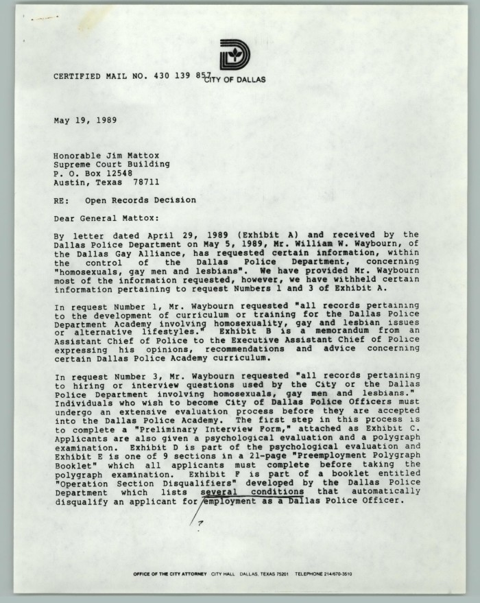 primary view of object titled letter with handwritten notes open records decision