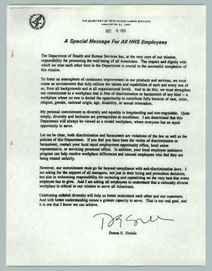Primary view of object titled 'A Special Message For All HHS Employees'.