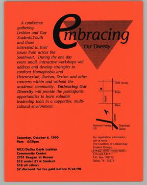 Primary view of object titled '[Flyer: Embracing Our Diversity Conference]'.