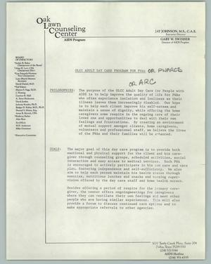 Primary view of object titled '[Informational Document with Handwritten Notes: Oak Lawn Counseling Center]'.